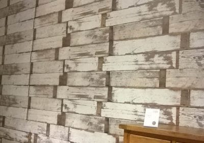 Wallpapered wall in retail unit