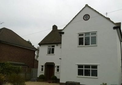 Exterior painting detached house white masonry