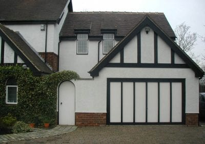 Painted garage, masonry and woodwork