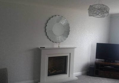Feature wallpapered wall lounge Billingham