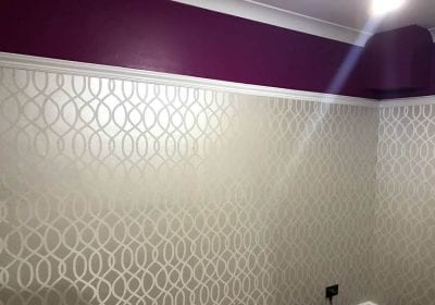 Beaded wallpaper professionally hung