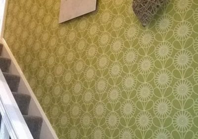 Wallpapered stairway