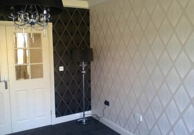 Contrast wallpaper hung professionally