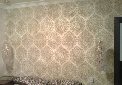 Patterened wallpaper professionally hung Stockton
