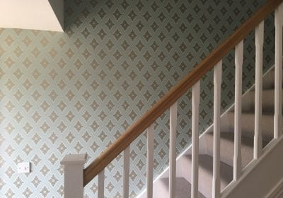 Wallpapered stairway Stockton on Tees