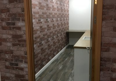 Wallpapered walls of office in Teesside