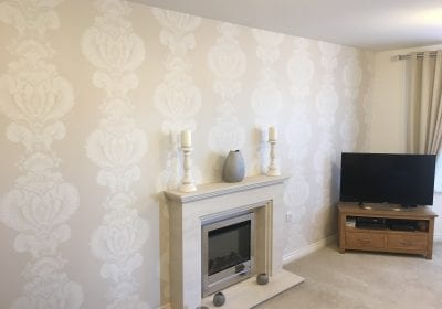 Wallpapered lounge feature wall