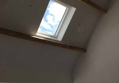 Painted plastered walls ceiling