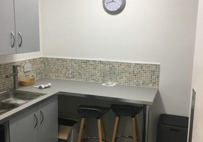 Commercial offies kitchen area after painting