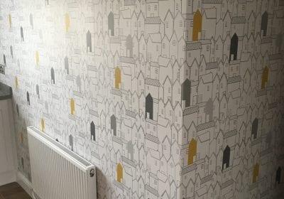 Wallpapered kitchen wall Stockton on Tees