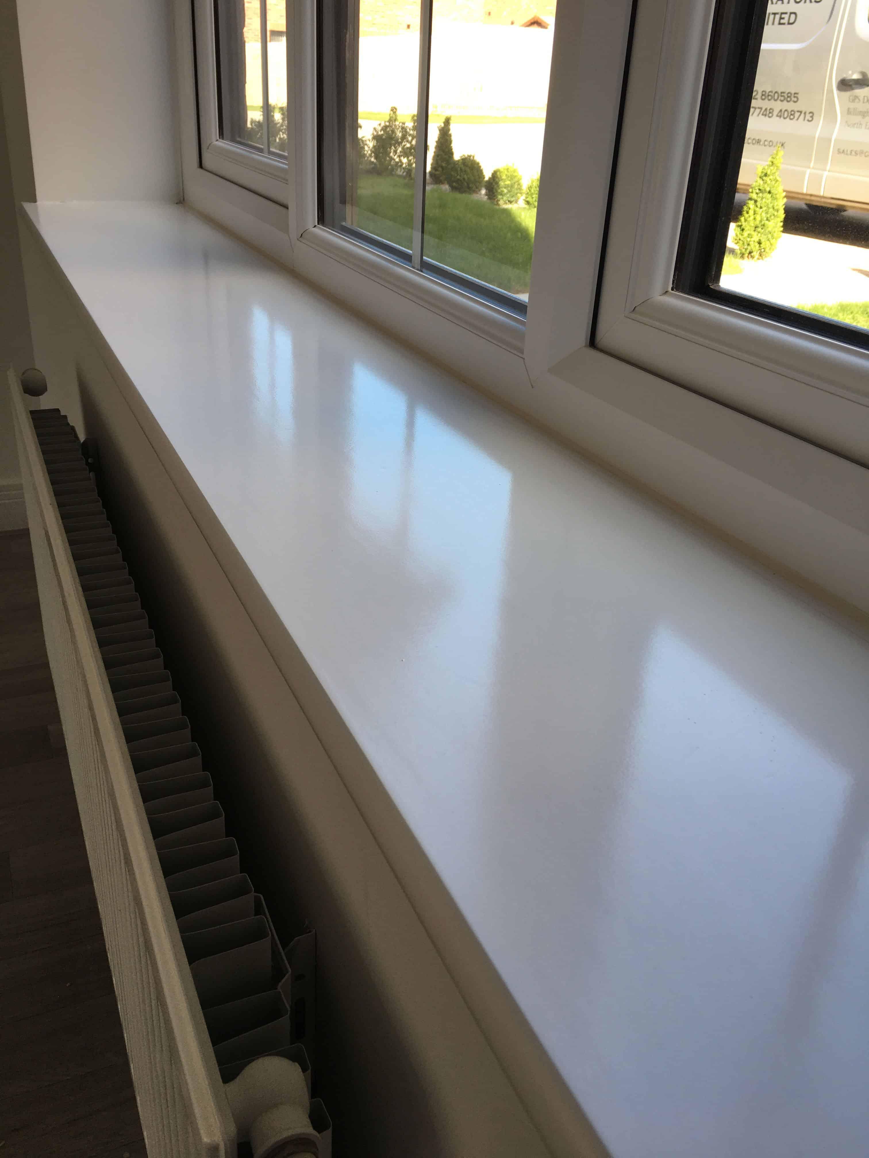 Spray painted white window sill Wynyard